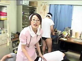 16 cumshots for cute Tokyo Asian Nurse Japanese Bukkake